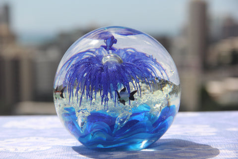 Beautiful Ocean Crystal Ball in Blue and Violet