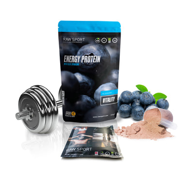 RAW SPORT BLUEBERRY ENERGY PROTEIN SAMPLE. ONE SERVING SIZE