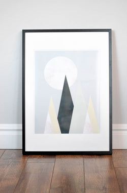 Nursery Wall Print - Mountain Moon