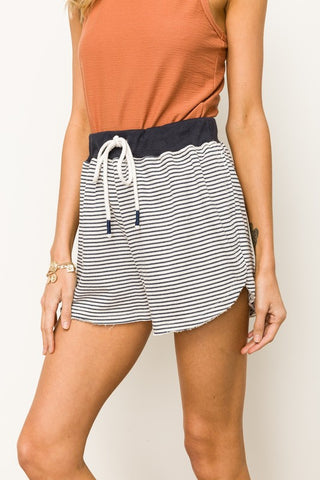 Striped Shorts - Navy and Ivory