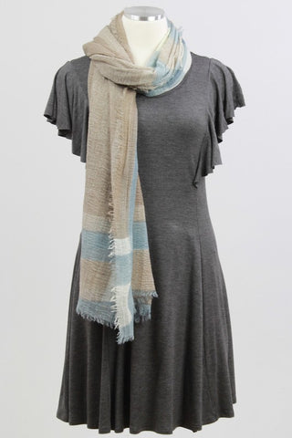 OneSize Casual Dress with Scarf