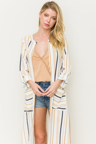 Striped Light-Weight Hooded Cardigan - White and Mustard
