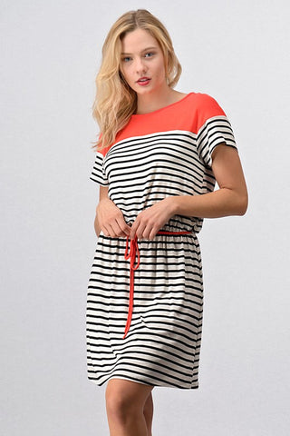 Coral Striped Color Block Dress
