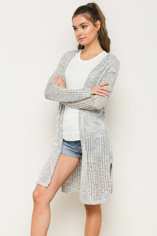 Light-Weight Hooded Cardigan - Grey
