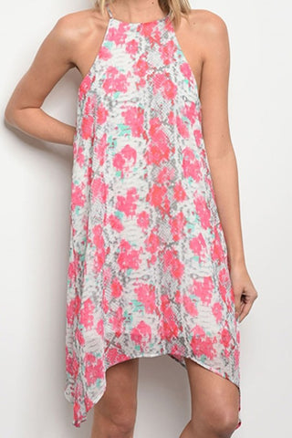 Sleeveless Ivory and Pink Floral Dress