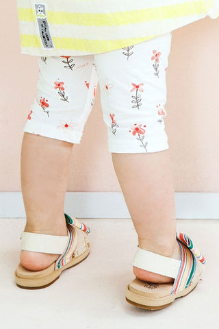 Girls Ivory Floral Short Leggings