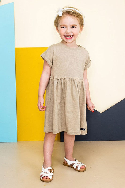 Girls T-shirt Dress Beige
