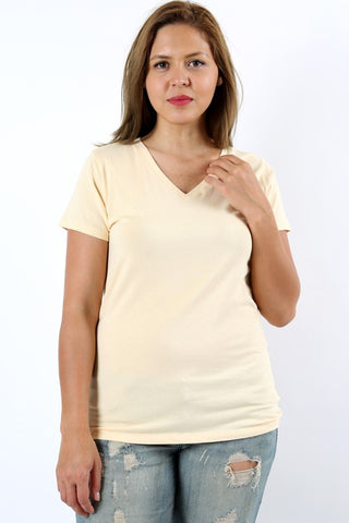Beige V-Neck T Shirt