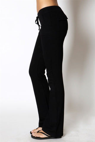 Black Drawstring Terry Pants