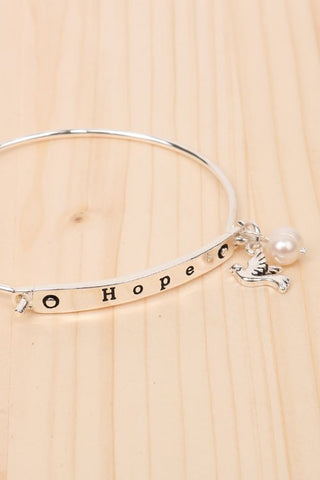 Hope Bird and Pearl Bangle - Silver