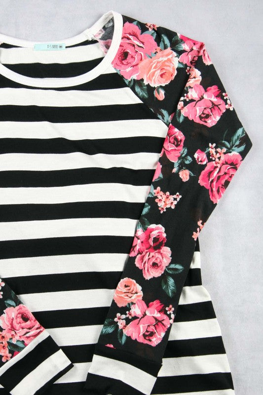 Girls Coral Striped and Floral top