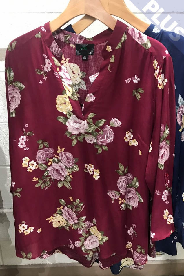 Burgundy Fall Flowers Top