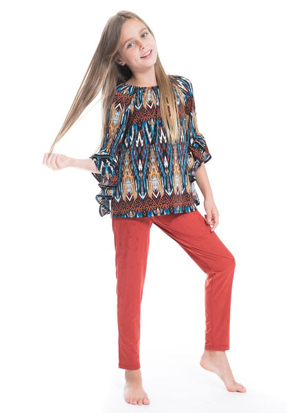 Girls Rust Suede Pants