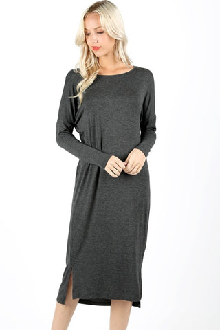 Long Charcoal Casual Dress