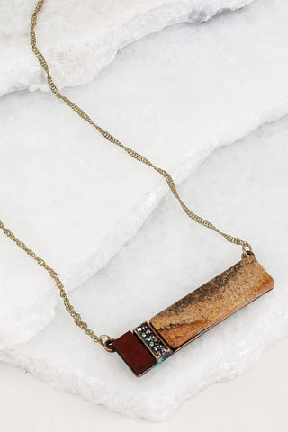 Jasper Stone Bar Necklace