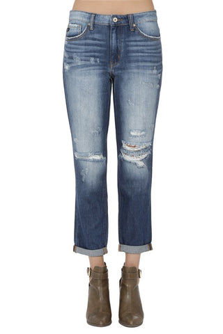 Kan Can Distressed Ankle Jean