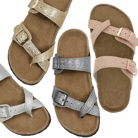 Girls Birken Style Sandals Rose Gold
