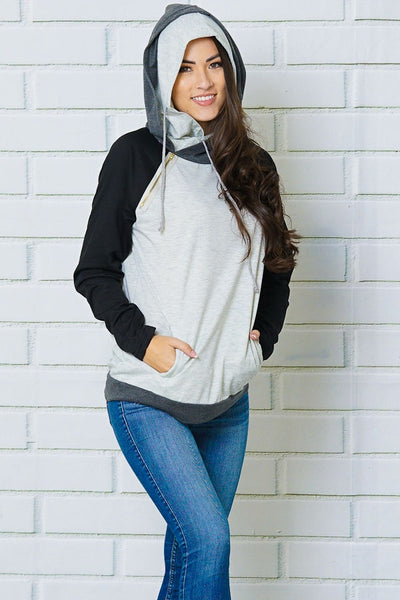 Grey and Black Double Hoodie with Zipper