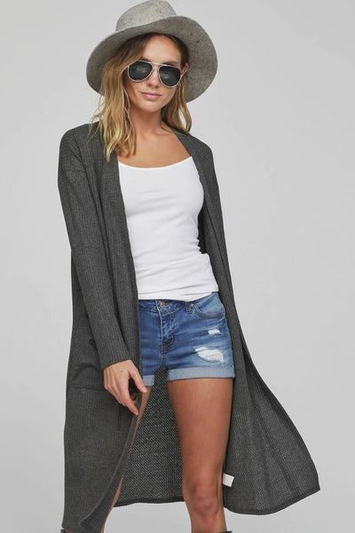 Charcoal Thermal Cardigan with Pockets