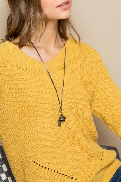 V NECK LINE DROPPED SHOULDER SWEATER