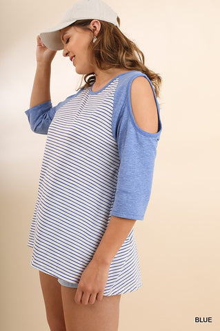 Batter Up! Curvy Cold Shoulder Raglan