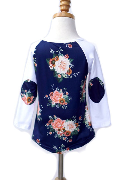 Flowers & Patches Girls Raglan