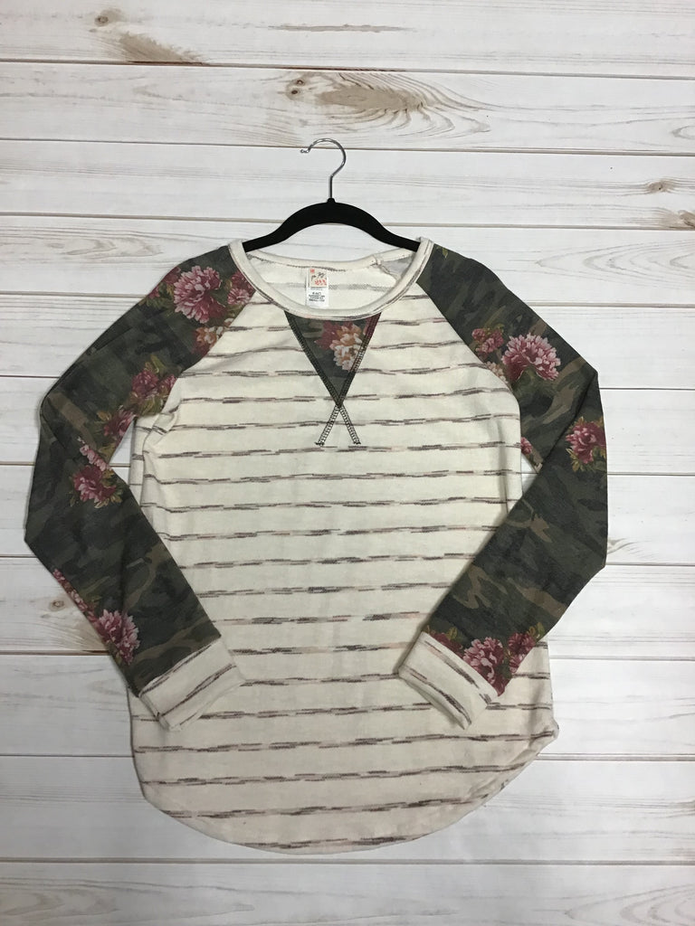 Oatmeal and Olive Long Sleeve Tupic with Floral/Camo