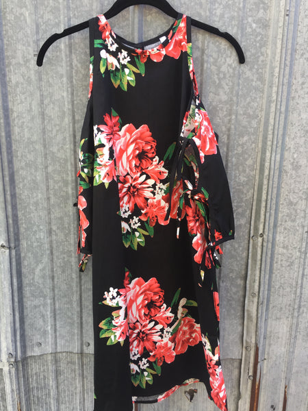 Cold Shoulder Black Floral Dress