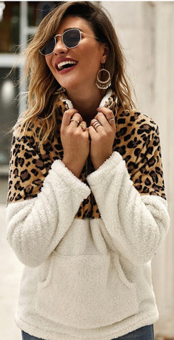 Animal Print Sherpa 1/4 Zip