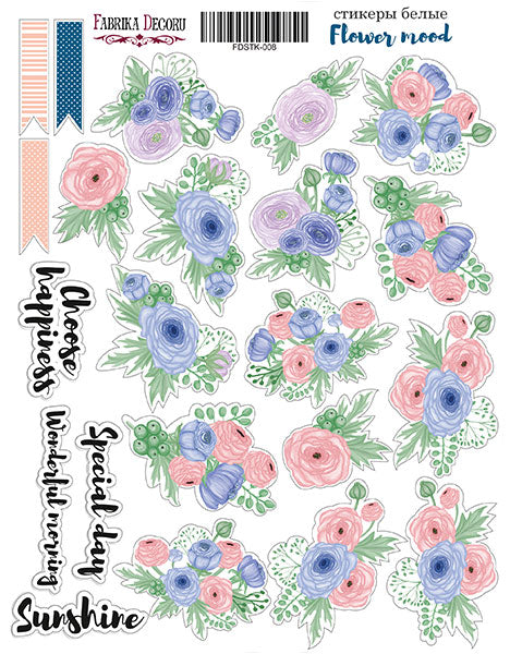 "KIT OF STICKERS #008, ""FLOWER MOOD"""