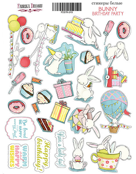 "KIT OF STICKERS #019, ""BUNNY BIRHTDAY PARTY"""