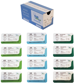 12 Pack of Mixed Sutures (2, 3, 4 & 5-0) in Nylon, Silk and Prolene
