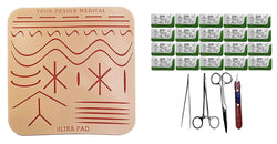 Extra Large Ultrapad 3-Layer Silicone Suture Pad w/ Wounds Suturing Practice Kit -- with driver, pickup, scissor, blade & 24 sutures