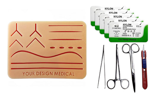 Large 3-Layer Suture Pad w/ Wounds Suturing Practice Kit Suturing Practice Kit -- with driver, pickup, scissor, blade & 5 sutures
