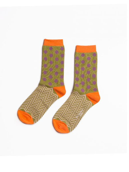 Polka Dot and Chevron Bamboo Socks by Miss Sparrow, Size UK 4-7-bamboofeet