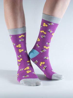 Purple Bees Bamboo Socks by Doris & Dude, Size 12-3-bamboofeet