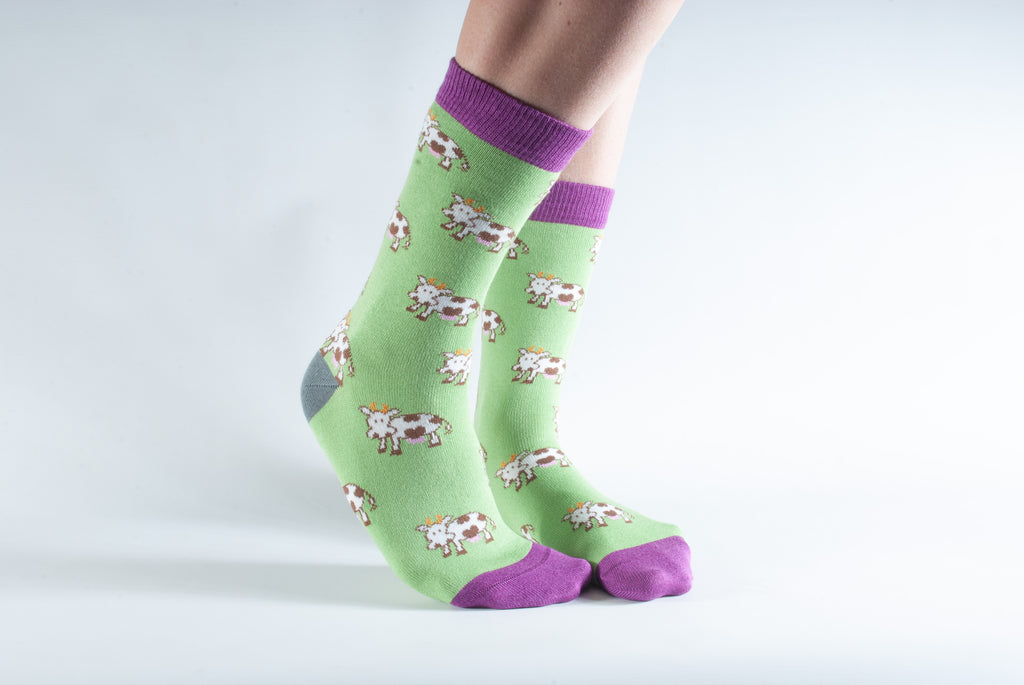 Cow Print Bamboo Socks by Doris & Dude, Size UK 3-7-bamboofeet