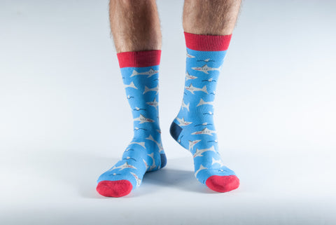 Shark Print Bamboo Socks by Doris & Dude, Size UK 7-11-bamboofeet