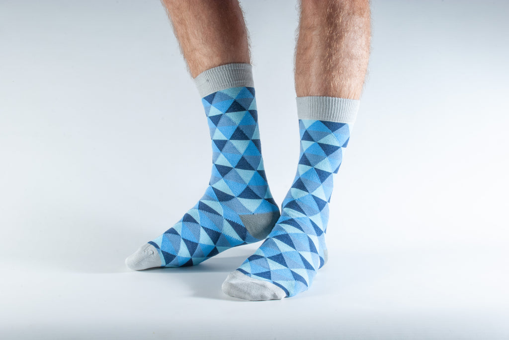 Blue Triangle Print Bamboo Socks by Doris & Dude, Size UK 7-11-bamboofeet