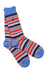 Blue and Red Narrow Striped Bamboo Socks by Swole Panda, Size 7-11