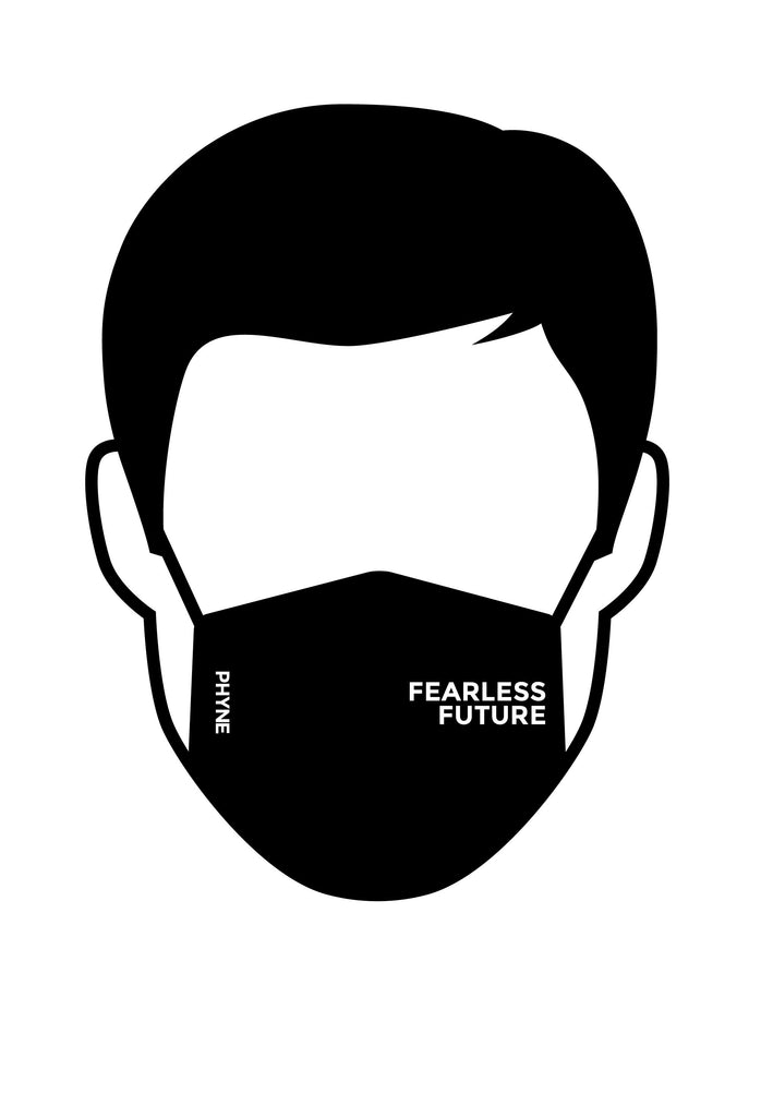 Fearless Future Organic Cotton Face Mask in Black by Phyne-bamboofeet