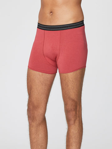 Men's Arthur Plain Bamboo Boxers in Hibiscus by Thought-bamboofeet