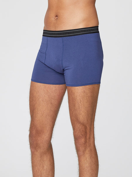 Men's Arthur Plain Bamboo Boxers in Ocean Blue by Thought-bamboofeet