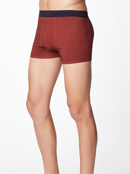 Men's Harland Stripe Bamboo Boxers in Fox Red by Thought-bamboofeet