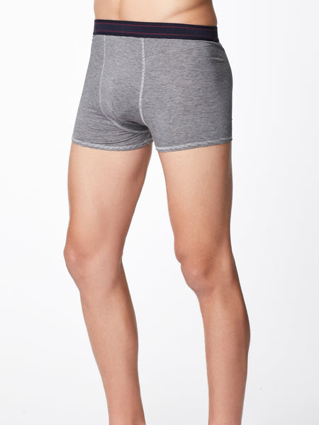 Men's Harland Stripe Bamboo Boxers in Grey Marle by Thought-bamboofeet