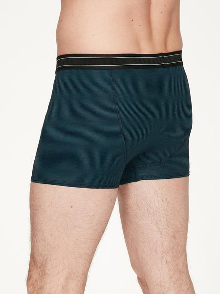 Men's Stripe Michael Bamboo Boxers in Majolica Blue Sml, Med, Lrg & XL, by Thought-bamboofeet