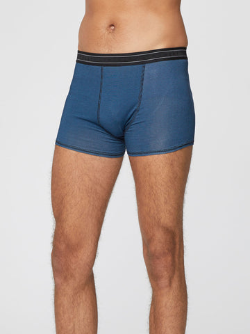 Men's Stripe Michael Bamboo Boxers in Ocean Blue by Thought-bamboofeet