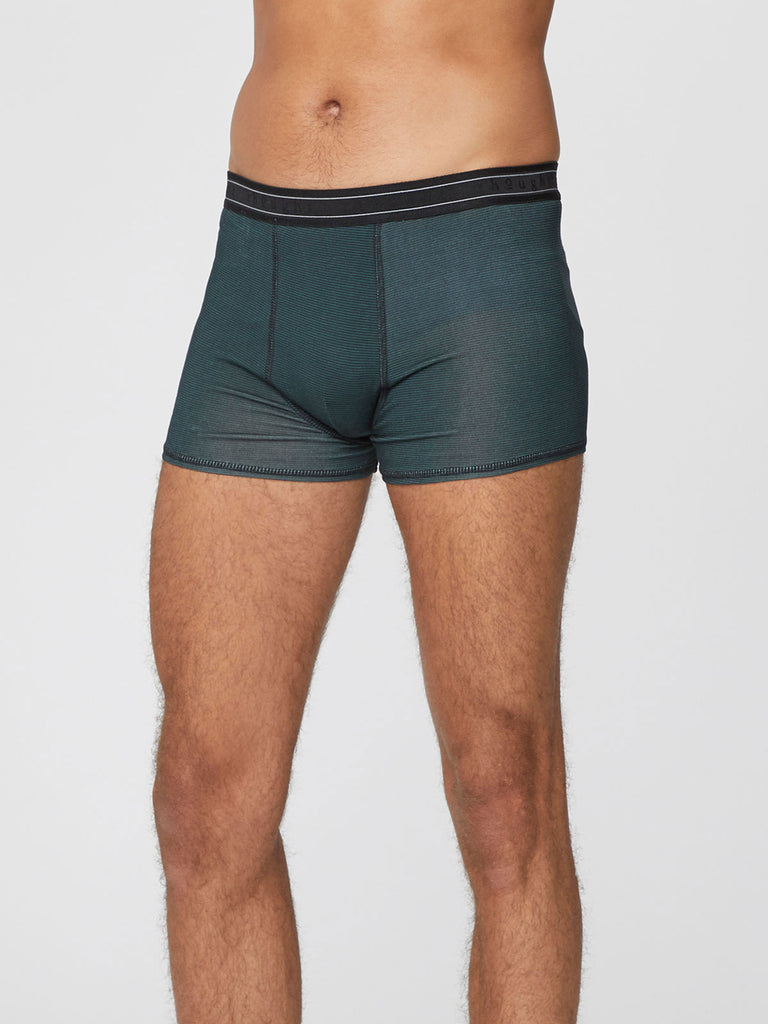 Men's Stripe Michael Bamboo Boxers in Rosemary Green, Small, by Thought-bamboofeet