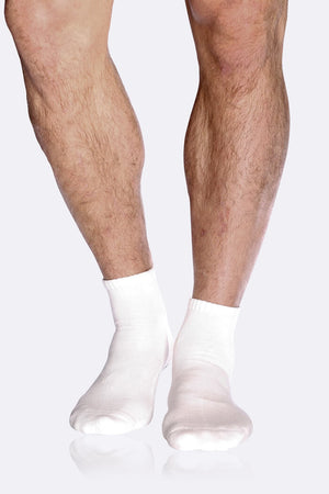 Boody Bamboo Men's Cushioned Ankle Sock in White-bamboofeet