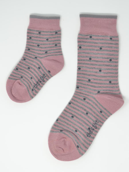 Rose Bamboo Kids Spot & Stripe Socks Gift Box by Thought-bamboofeet